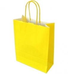 photo of Draagtas papier 18cm x 8cm x 22cm geel onbedrukt gebleekt kraft 70gr / m2