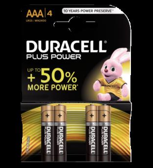Batterij Duracell Plus Power 4xAAA alkaline Product image