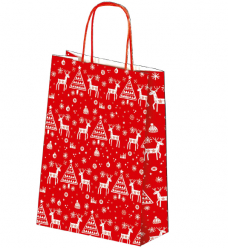 photo of Kerstdraagtas papier 26cm x 10cm x 32cm rood christmas is coming gecoat papier 130gr / m2