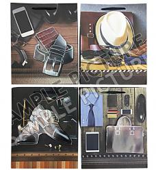 photo of Papieren koordtas 18cm x 8cm x 24cm bruin kledingstukken