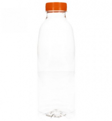 photo of Flessen met oranje dop 750 ml pet transparant