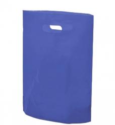 photo of Plastic draagtas gestanst handvat 38cm x 44cm blauw onbedrukt ldpe 50µm
