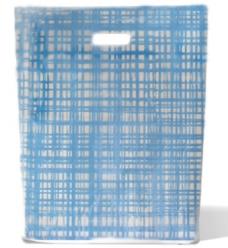 photo of Plastic draagtas gestanst handvat 37cm x 44cm mat transparant grafisch scuba blauw mdpe 40µm