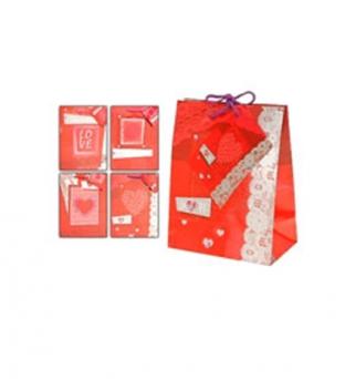 Papieren koordtas 11cm x 6.5cm x 16cm rood/wit valentijn 150gr / m2 Product image