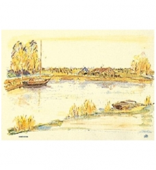 photo of Placemat tork 31cm x 42cm creme aquarel