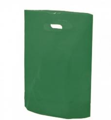 photo of Plastic draagtas gestanst handvat 38cm x 44cm groen opaak onbedrukt ldpe 50µm