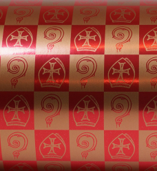 photo of Kadopapier sinterklaas 30cm x 150m k87 gemetaliseerd papier 74gr / m2