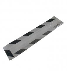 photo of Fleszak gebleekt wit kraft 10cmx 4cm  x 41cm zilver/zwart met venster