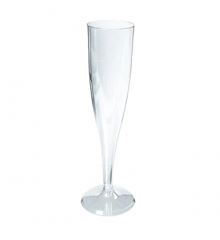 Champagneglas op voet plastic    135ml transparant Product image