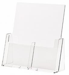 photo of Folderhouder 10.5cm x 14.8cm staand 2 vakken acryl