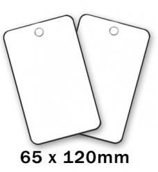 photo of Label  120mm  x 65mm wit onbedrukt plastic
