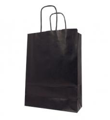 photo of Draagtas papier 18cm x 8cm x 22cm zwart onbedrukt gebleekt kraft 90gr / m2