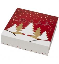 photo of Kransdoos 22.7cm x 22.7cm x 6cm wit/rood kerst twinkel