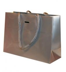 photo of Papieren koordtas 22cm x 8cm x 16cm zilver onbedrukt 190gr / m2