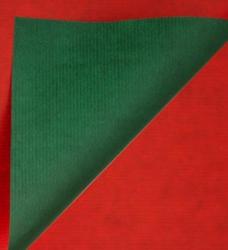 photo of Cadeaupapier 50cm x 200m rood/groen 70gr / m2 wit kraft