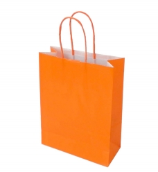 photo of Draagtas papier 18cm x 8cm x 22cm oranje onbedrukt gebleekt kraft 90gr / m2