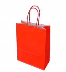 photo of Draagtas papier 18cm x 8cm x 22cm rood onbedrukt gebleekt kraft 90gr / m2