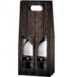 photo of Draagkarton 2 fles donkergrijs houten plank