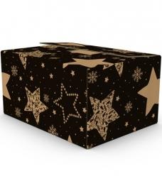 photo of Pakketdoos E met handvaten 59cm x 39cm x 30cm zwart stars