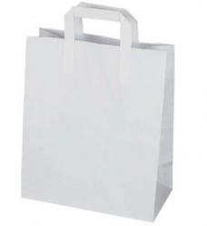 photo of Draagtas papier 22cm x 10cm x 28cm wit onbedrukt gebleekt kraft 70gr / m2