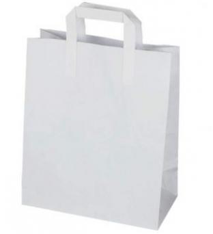 Draagtas papier 22cm x 10cm x 28cm wit onbedrukt gebleekt kraft 70gr / m2 Product image