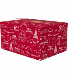 photo of Pakketdoos D 45cm x 35cm x 23cm kraft rood happy holidays