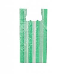 photo of Hemddraagtas 27cm x 6cm x 48cm wit streep groen hdpe 10µm geblokt