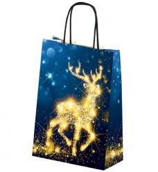 photo of Kerstdraagtas papier 32cm x 13cm x 42.5cm blauw rendier gecoat papier 130gr / m2