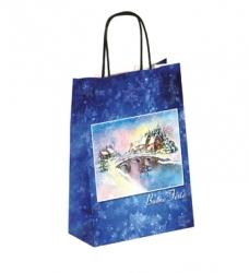 photo of Kerstdraagtas papier 26cm x 10cm x 32cm blauw kerstbrug gebleekt wit 130gr / m2