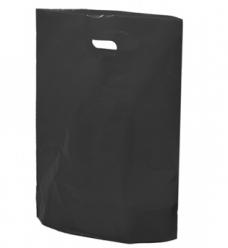 photo of Plastic draagtas gestanst handvat 38cm x 44cm zwart onbedrukt ldpe 50µm