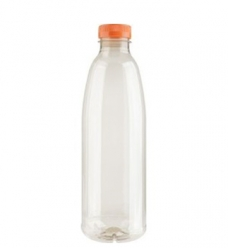 photo of Flessen met oranje dop 1000 ml pet transparant