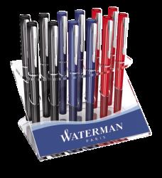 photo of Vulpen Waterman Allure chrome F blauw + inktpatronen blauw