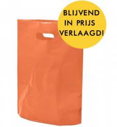 photo of Plastic draagtas gestanst handvat 38cm x 44cm oranje onbedrukt ldpe 50µm