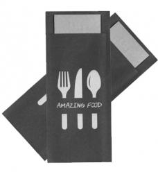 photo of Bestekzakje 9.5cm 19cm zwart/grijs met servet grijs