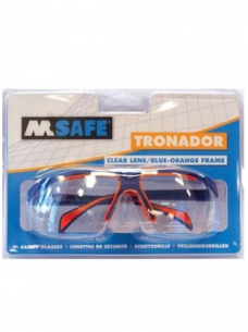 photo of Veiligheidsbril M-safe Polycarbonaat heldere glazen blauw/oranje Tronador