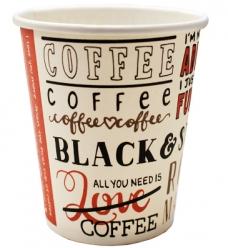 photo of Beker karton recht   237ml wit koffie print