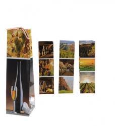 photo of Koordtas 1 fles 10cm x 10cm x 35cm papier wijndessin assorti