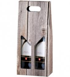 photo of Draagkarton 2 fles grijs hout