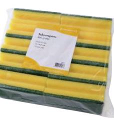 photo of Schuurspons geel/groen 9x15cm 10 stuks