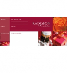 photo of Kadobon  bordeaux met strook genummerd