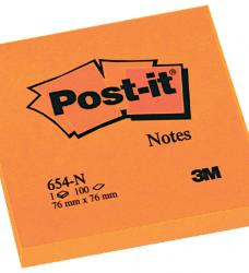 photo of Memoblok 3M Post-it 654 76x76mm neon oranje