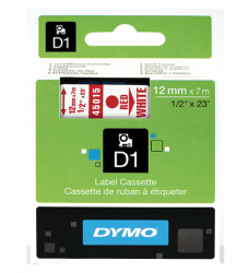 photo of Labeltape Dymo 45015 D1 720550 12mmx7m rood op wit