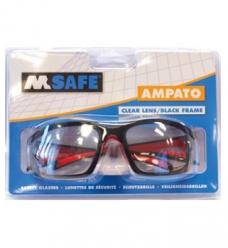 photo of Veiligheidsbril M-safe Polycarbonaat heldere glazen zwart/rood Ampato