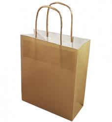 photo of Draagtas papier 18cm x 8cm x 22cm goud onbedrukt gebleekt kraft 70gr / m2