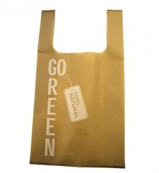 photo of Pp non woven hemddraagtas 27cm x 6cm x 48cm beige go green