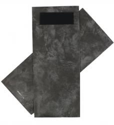 photo of Bestekzakje 8.5cm 20cm antraciet marble met servet zwart