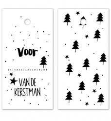 photo of Kadolabel karton 8cm x 4cm voor... van de kerstman wit/zwart