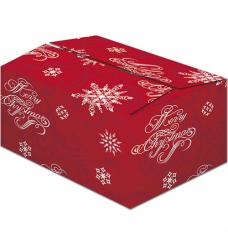 photo of Pakketdoos C 39cm x 29cm x 23.2cm rood/wit snowflakes rood