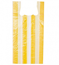 photo of Hemddraagtas 27cm x 6cm x 48cm wit streep geel hdpe 10µm geblokt