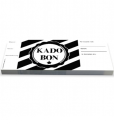 photo of Cadeaubon gestreept zwart wit met strook genummerd
